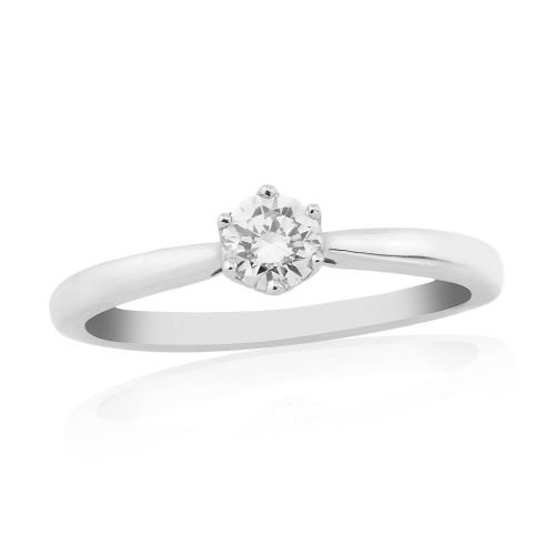 Solitaire Single Stone Six Claw Engagement Ring White Gold 25 Points